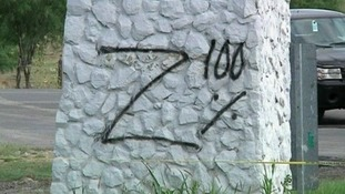 Graffiti at the scene possibly left by the gang responsible