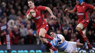George North makes a trademark break against Argentina.