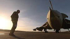 Retired Squadron leader Alan Stephenson prepares to board the plane.
