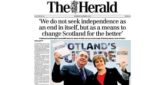The Herald quotes Alex Salmond: 'We do not seek as independence an end in itself, but as a means to change Scotland for the better'