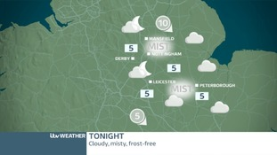 TONIGHT EAST MIDLANDS: Dry and cloudy with mist patches