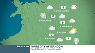 THURSDAY WEST MIDLANDS: Cloudy, some drizzle, mostly dry