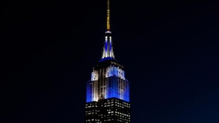 The Empire State Building lights up blue for 'Thanksgivukkah'.