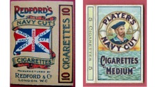 A Redford's packet from 1910, left, and a Players packet from the 1920s.