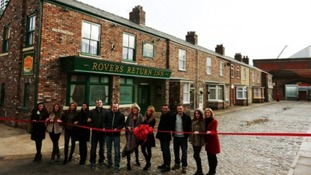 Cast members on the new cobbles