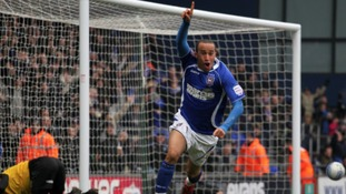 Andros Townsend celebrates scoring for Ipswich Town in 2010.