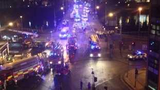 Emergency services at the scene in Glasgow.