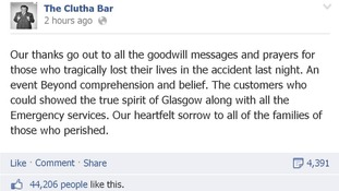 The message on the Clutha Bar's Facebook page
