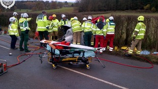 The scene of the crash on the Shropshire-Wales border today