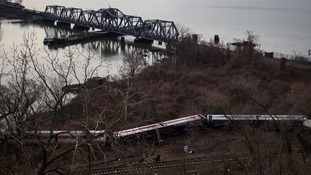 Train cars at the site of the Metro-North train derailment