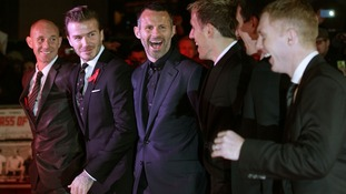 (L-R) Nicky Butt, David Beckham, Ryan Giggs, Phil Neville, Gary Neville and Paul Scholes arrive at the world premiere of The Class of '92.