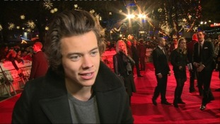Harry Styles from One Direction speaks to ITV News at the premiere of The Class of '92.