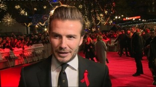 David Beckham speaks to ITV News at the Class of '92 premiere.