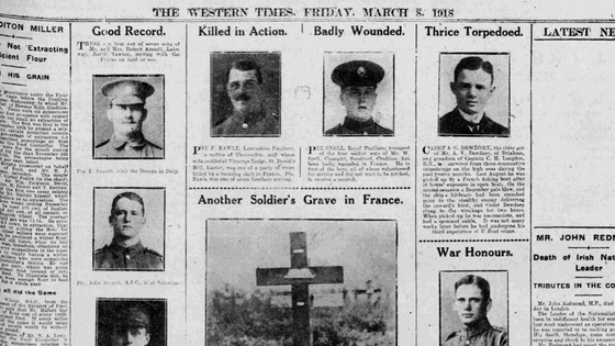 Photos and poems of heartfelt prose, published in local newspapers during World War I.