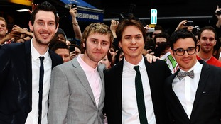 Blake Harrison, James Buckley, Joe Thomas and Simon Bird pictured arriving for the world premiere of The Inbetweeners Movie.