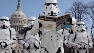 Storm troopers mingled with locals and tourists near the famous Capitol buildings