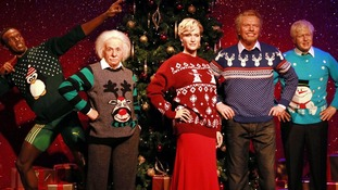 Wax figures of Usain Bolt, Albert Einstein and Kate Winslet in their Christmas jumpers.