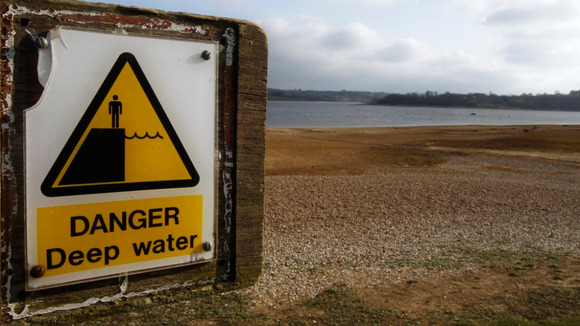 A warning sign seen at Bewl Reservoir in south-east England