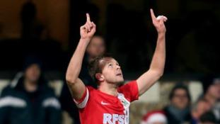 Former Ipswich striker Jordan Rhodes celebrates scoring on his return to Portman Road.