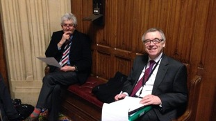 Rhodri Morgan and Ieuan Wyn Jones before giving evidence to the committee