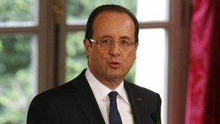 Francois Hollande delivered a speech following his inauguration.