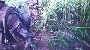 Royal Marines are seen in the footage taken from a collegue's headcam.
