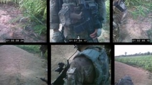 The shooting was filmed by a camera on Marine B's helmet.