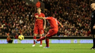 Suarez fires in a wonderful free kick to strike for the fourth time.