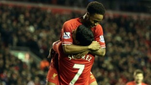 Raheem Sterling thanks Suarez after completing the rout.