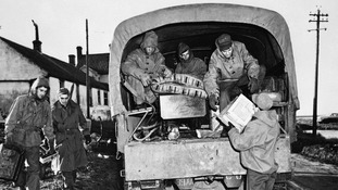 US servicemen from nearby Langham Camp help with salvage work at Salthouse, Norfolk