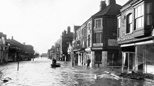 The flooded main street of flooded Mablethorpe, Lincolnshire