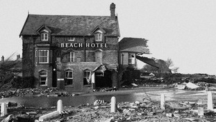 The wreckage of the Beach Hotel, Sutton-on-Sea, two miles south of Mablethorpe, Lincolnshire