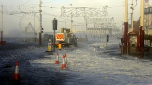 Blackpool Main Promenade under flood water following high tide and a tidal surge.