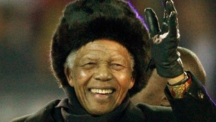 Mandela waves to the crowd at Soccer City stadium during the closing ceremony for the 2010 World Cup in Johannesburg.