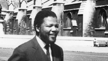 Nelson Mandela outside Parliament in the 1960s.