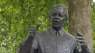Nelson Mandela's statue on Parliament Square.