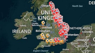 Severe flood warnings (red on red), flood warnings (black on red) and floor alerts (yellow)