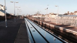 Flooded tracks at Lowestoft