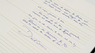 David Cameron wrote in the book of condolence at South Africa House in central London.