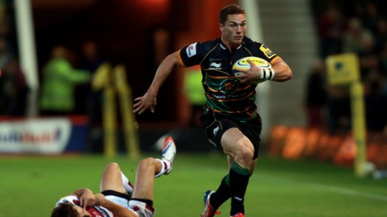 George North races for the line against Sale Sharks.
