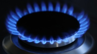Stock picture of a gas hob lit.