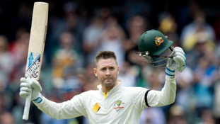 Australian skipper Michael Clarke celebrates his brilliant century.