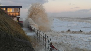 A wave crashed into Mundesley seafront in Norfolk earlier today.