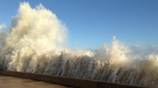 High tide in Lowestoft this morning.