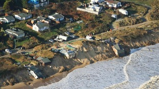 Several homes by the sea in Hemsby were destroyed by large waves.