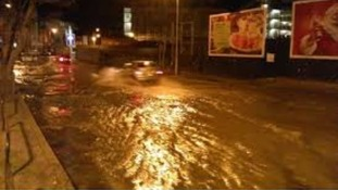 Flooded street in Hull last night