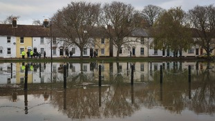 The flood waters in Faversham, Kent.