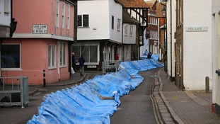 Mobile flood defences in Sandwich Kent.