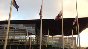 Flags at half-mast, Senedd