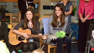 Kate joins in with a music session at the hospice.
